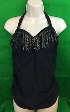Pure Energy Black Fringed Tankini Swimsuit Top Size 14W