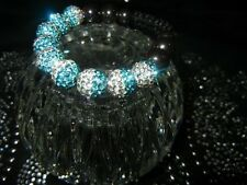 Crystal Shamballa Two Color 10mm  Teal Disco Ball