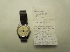 Vintage Russian Rateka Paketa Wristwatch Star Leather Band With Note