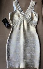 BEBE Addiction CLEO Coated Gold Bandage Dress Sz XS $279.00 Herve Leger quality