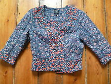 KATE MOSS BLUE/RED FLORAL FITTED JACKET 12 TOPSHOP