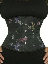 "New! 411 Authentic Flower Brocade 40"" Inch Underbust Corset Double Steel Boned"