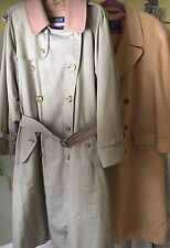 2 VINTAGE BURBERRY MENS COATS CLASSIC TRENCH WOOL LINER & CAMEL HAIR 50 REG