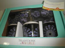 16pc Traditions by Waverly CIRCULAR MOTION PURPLE Black Shower Curtain Bath Set