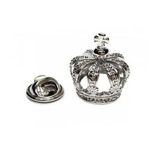 3D Silver Coloured Detailed Crown Metal Pin Badge royalty king queen AJTP461