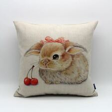 "18"" Vintage Cute Rabbit with Red Cherry Spring Pillow Case Cushion Cover Decor"