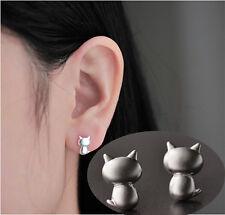 1 Paire Boucles D'Oreilles Argenté Chat Mignon Bijoux Accessoires Cat Earrings