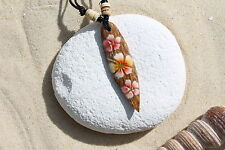 NEW WOODEN RETRO FLOWER SURFBOARD NECKLACE SURFER SURF LUCKY TALISMAN / n243c