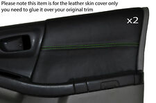 GREEN Stitch 2x FRONT DOOR CARD Trim pelle COPERTINE si adatta SUBARU FORESTER 1997-2002