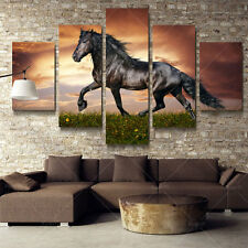 5 Panel Decor Art Painting Animal Large Horse Modern Picture Oil Canvas Wall