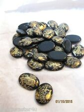 36 LOT Vintage Stones Assorted Black & Gold Zodiac Signs 18 X 13 MM West Germany