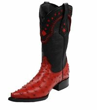 Genuine Ostrich Leather Western Cow boy Men Boots
