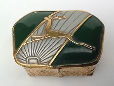 Art Deco Enamel Trinket/Ring Box with Leaping Deer,Stag,Antelope.