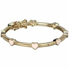 Pink Enamel Heart Gold Tone Bangle Cuff Bracelet 50 mm