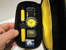 YELLOW QUARTZ SPORTS WATCH YELLOW/BLACK+ LARGE METAL PEN+PEN POUCH-GREAT DEAL