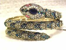 BETSEY JOHNSON BOLD HINGED BANGLE, PAVE CRYSTAL SNAKE, NWT, $145!