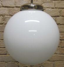 Deckenlampe ,GLASKUGEL,WEISS,25 cm,im Stil 20erJAHRE BAUHAUS CHROMPENDELSTANGE
