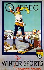 Quebec Canada Sports Canadian Winter Ski Europe Travel Advertisement Poster