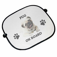 Pug On Board Car Sun Shades - 45cm x 36cm - Brand New