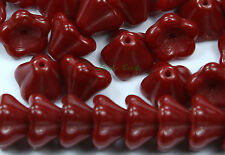 25 Blood Red Czech Glass Beads Baby Bell Flower 8x6mm