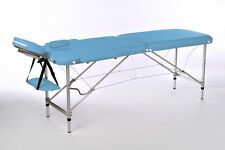 PORTABLE MASSAGE TABLE 2 ZONES LIGHTWEIGHT ALUMINIUM 10KG BLUE