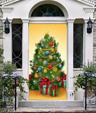 New Year Front Door Cover Entry Doors Banner Christmas Decor Outside House ON30