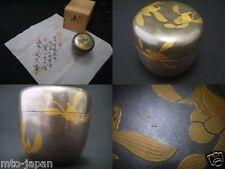 Japanese WAJIMA Silvery background Lacquer Tea caddy Iris makie Natsume (0126)