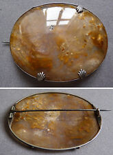 Grande Broche en argent massif +  agate debut 19e siècle silver brooch Antic