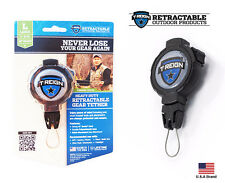 """T-Reign Outdoor Large Retractable Gear Tether Black Lock 48"""" Kevlar Cord / 8 oz"""