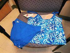 NWT Womens Speedo 2 piece 2 PC Tankini Bikini Swimwear size 8 blue