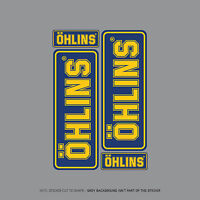 SKU2010 - Set Of 4 Ohlins Stickers - Decals - Motorcycling - Blue & Yellow