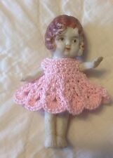 "Crochet Dress for 3 1/2"" Frozen Charlotte Flapper Bisque Penny Doll Light Pink"