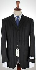 NWT VERSACE COLLECTION SUIT by Zegna 4 seas grey black relief striped eu48 us38