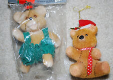 "Fuzzy Teddy Bears Christmas Ornaments Decorations Merry Bears LOT 5"" Vintage"