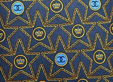 Chanel Neck Tie Cravatta Cravate Monogram Logo Chains Blue Grey Silk VGC Auth