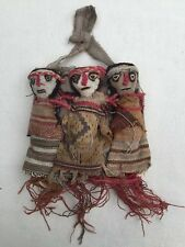 Old ANTIQUE Vintage HAND MADE NATIVE AMERICAN INDIAN RAG DOLL Triplets in a Bed