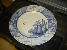 "Royal Stafford Blue Ship & Map Porcelain 11"" Dinner Plates Made in England"