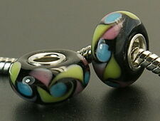 3 pcs Murano Glass Beads Multicolor Fits European Charm Bracelet or Necklace G29