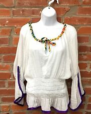 Hippie Peasant 60s Blouse Top Womens White Gauze Bell Sleeves Halloween (1074)