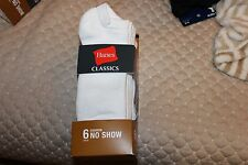 NEW IN pkg - 6 Pairs Mens HANES CLASSIC  NO SHOW SOCKS SHOE SZ  6 - 12