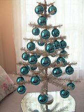 Vintage Krebs Glass Christmas Ornaments Pale Turquoise 32 Balls Original Boxes