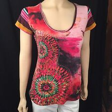 Desigual Sleeveless Abstract Colorful Striped With Hand-sewn Gold Thread M
