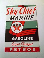 """Auto US """"Sky Chief Marine""""gas pump or tanker Truck"""" Porcelain sign"""
