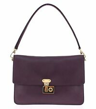 NWT $1350 DOLCE & GABBANA MISS LINDA Purple Leather Shoulder Hand Bag Key Purse