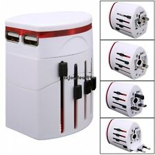 Universal Travel Adapter AU/US/UK/EU World AC Plug 2 USB Power Outlet Charger