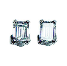 Killer 1.47ct VVS-GH Emerald Cut Diamond Stud Earrings 14K White Gold Estate GIA