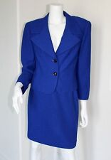Escada Bright Blue Wool Boucle Nubby Tweed Skirt Suit Blazer Jacket 40 10 M MD