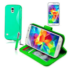 GREEN Wallet & Gel 4in1 Accessory Bundle Kit Case Cover For Samsung Galaxy S5
