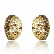 18k Gold GF leopard Swarovski crystals enamel cameo stud earrings