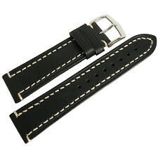 20mm Hirsch Liberty Mens Black Leather Contrast Stitched Watch Band Strap